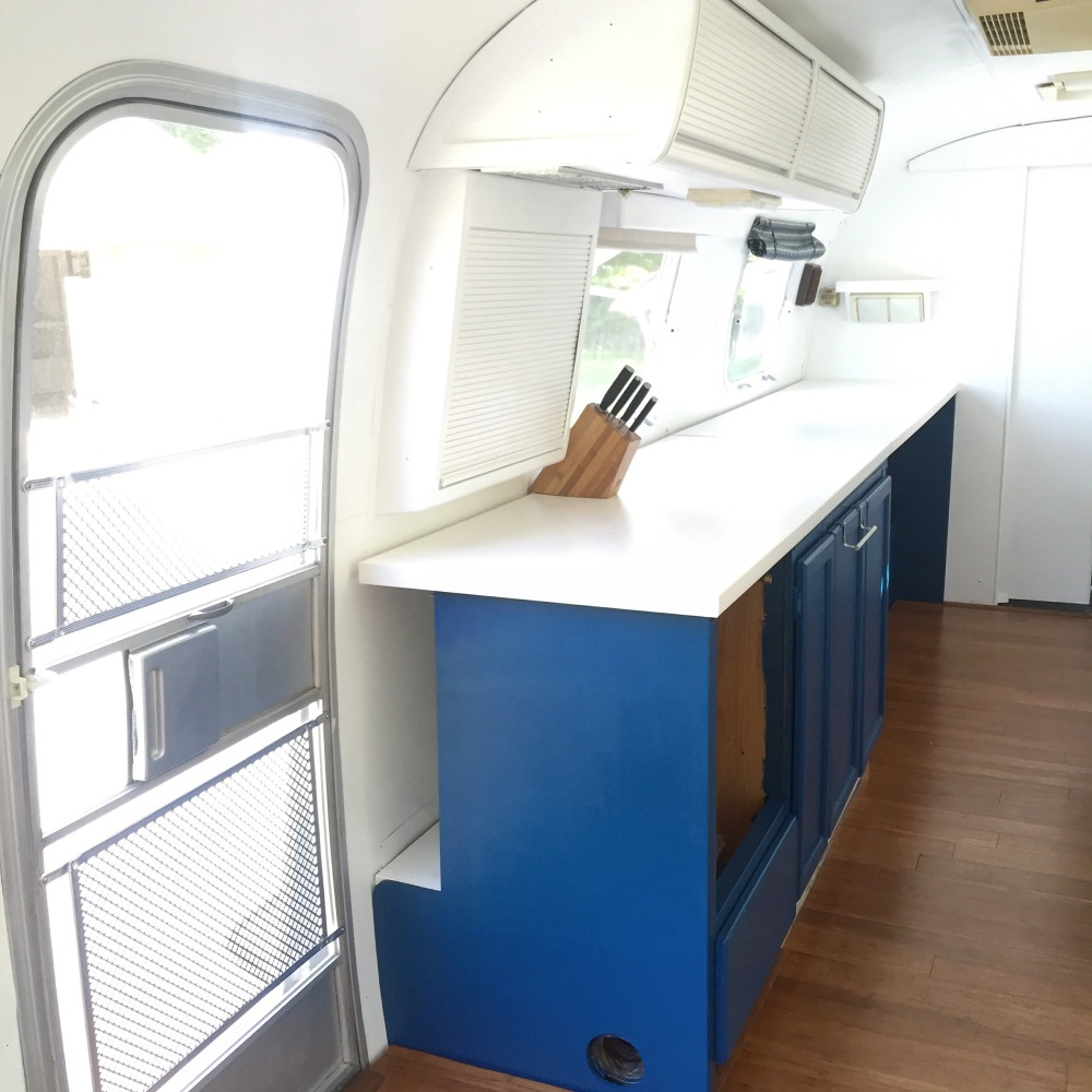 1984 airstream international kitchen remodel before and after photo